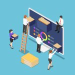 Flat 3d Isometric Business People Are Organize Document Files An