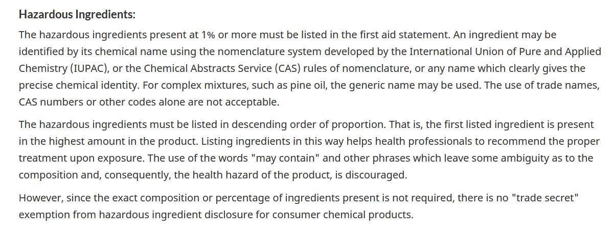 hazardous ingredients
